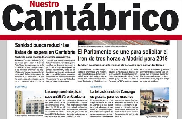"""Noticia publicada en el diario regional """"Nuestro Cantabrico"""""""
